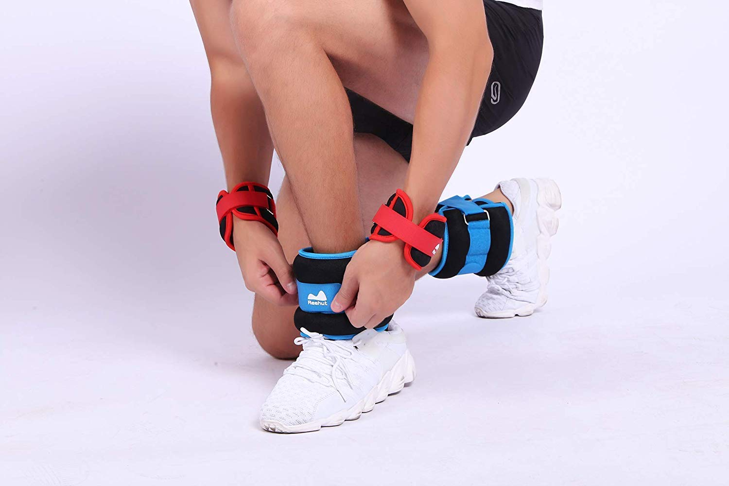 Model wearing the strap-on ankle weights