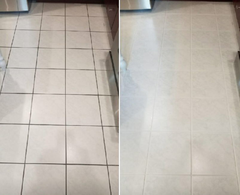 Reviewer's before-and-after image after using the grout cleaner to completely clean the grout, leaving it stain-free