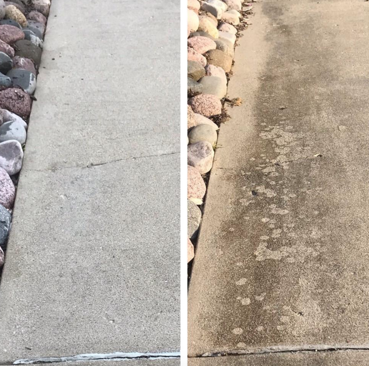 Reviewer's before-and-after image after using the degreaser to noticeably clean their driveway concrete