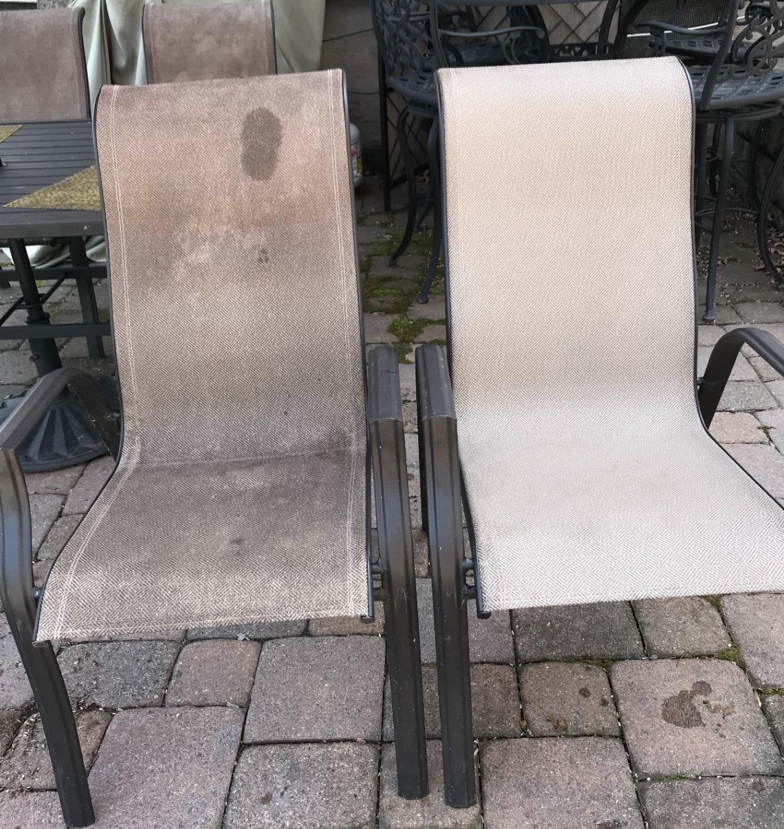 Reviewer image of two patio chairs, one without stains after using the mildew remover and one much dirtier with tons of mildew