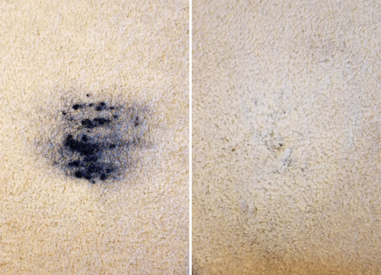 Reviewer's before-and-after image after using the stain remover to remove black paint out of a carpet