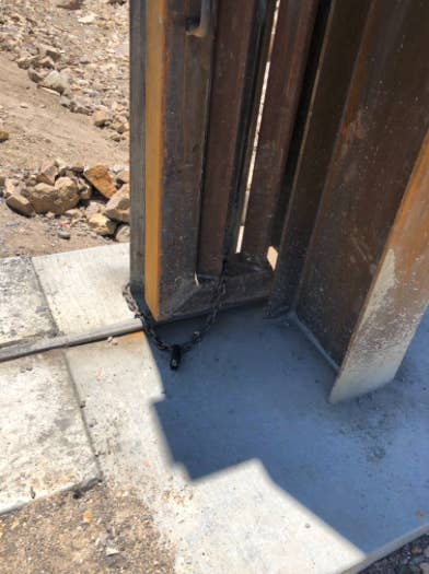 The gate built by We Build The Wall in New Mexico was locked open Wednesday by the International Boundary and Water Commission.
