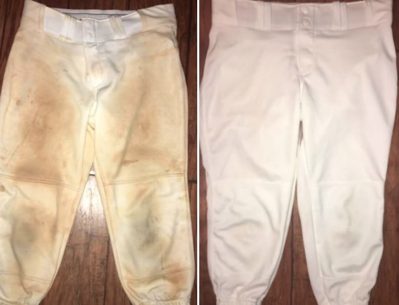Reviewer's before-and-after image after using the bar to remove tons of dirt stains from baseball pants
