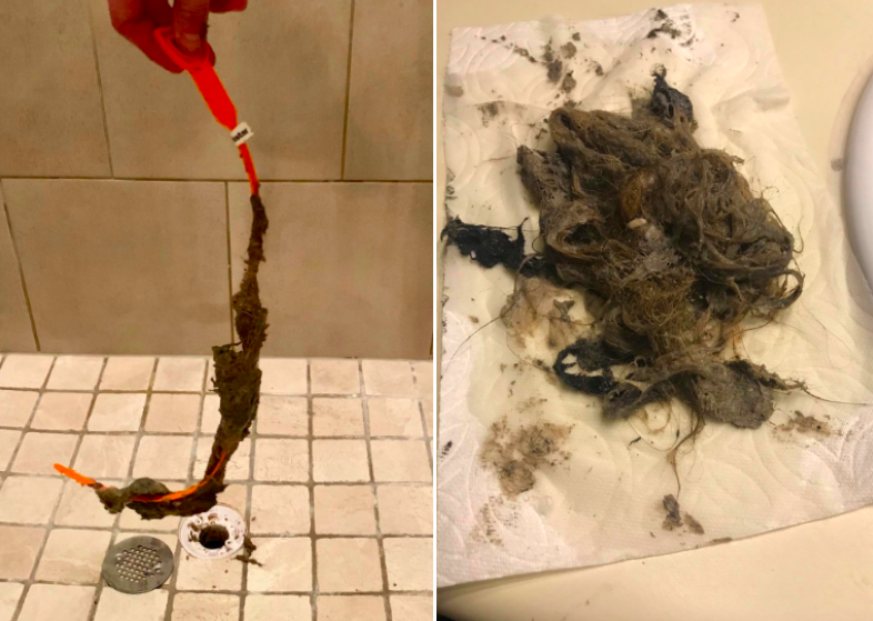 Two photos showing a reviewer using the drain snake to pull tons of hair from the drain, and a second close-up photo of everything that came out of the drain