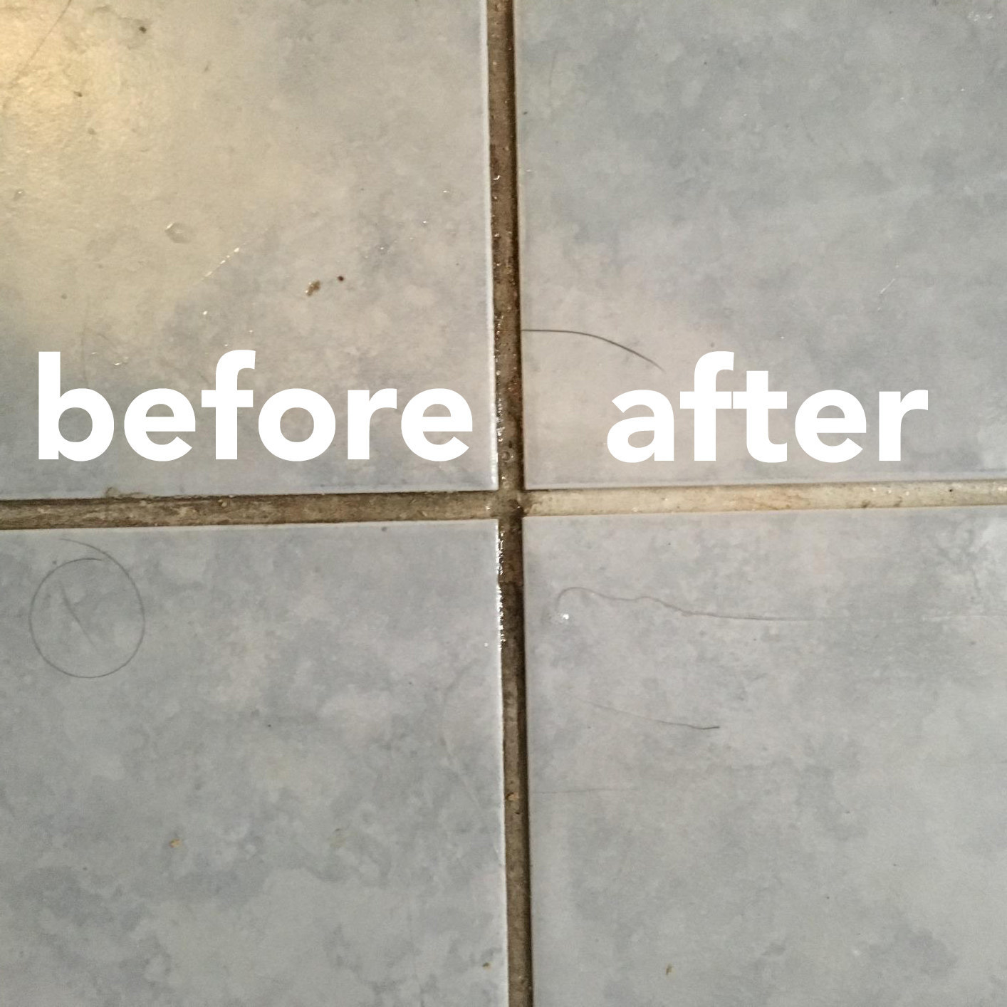A reviewer's tile floor; half the grout caked dark with dirt and grime; half of it white and clean