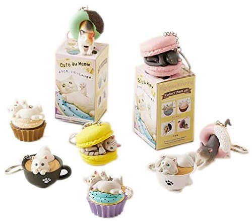 keychains that look like various cats in various sweets like a macaron, donut, cupcake, and coffee
