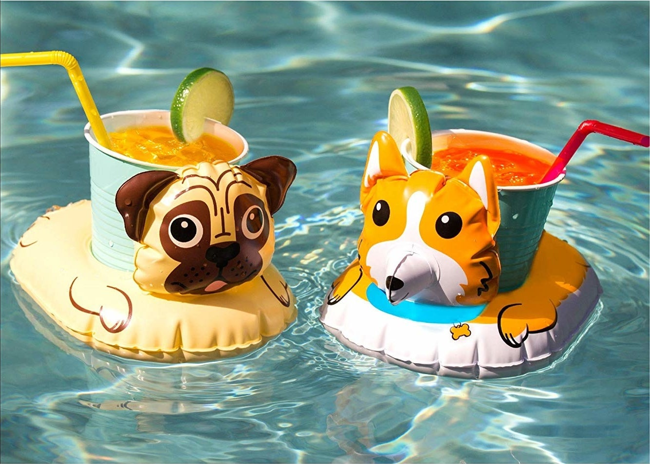 inflatable cup holders that look like pug and corgi inner tubes