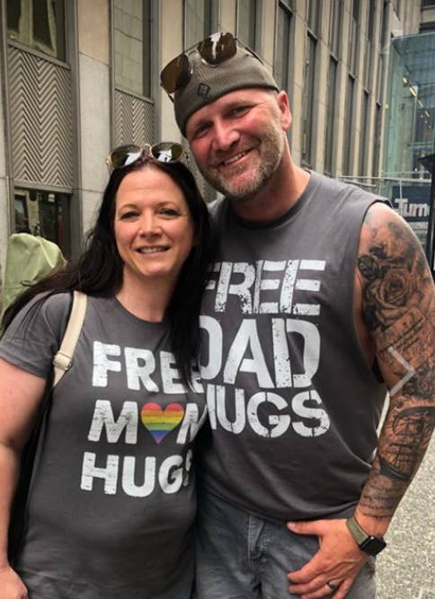 "This Guy Offered ""Free Dad Hugs"" At A Pride Parade And People Really Needed Them"