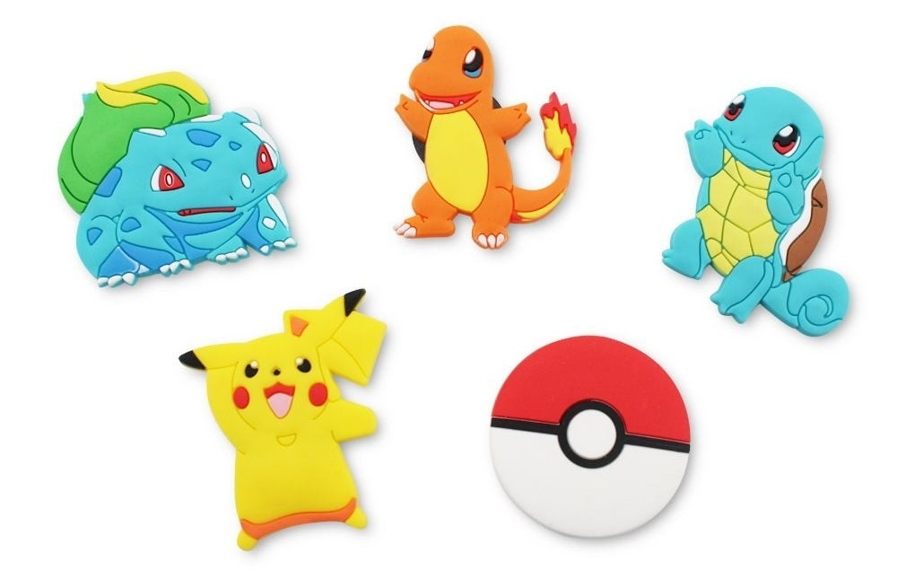 bulbasaur, pikachu, charmander, pokeball, and squirtle
