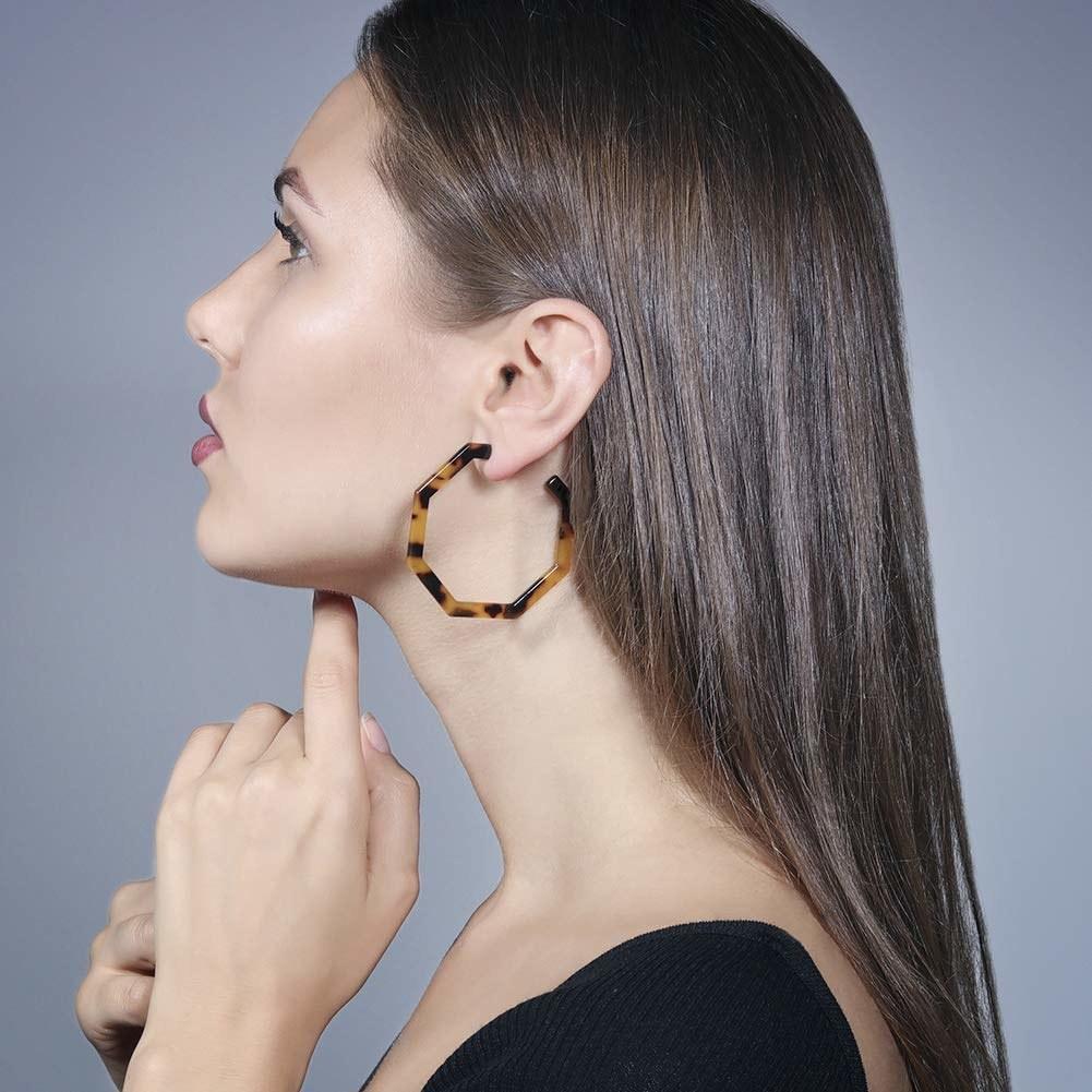 tortoiseshell round earrings