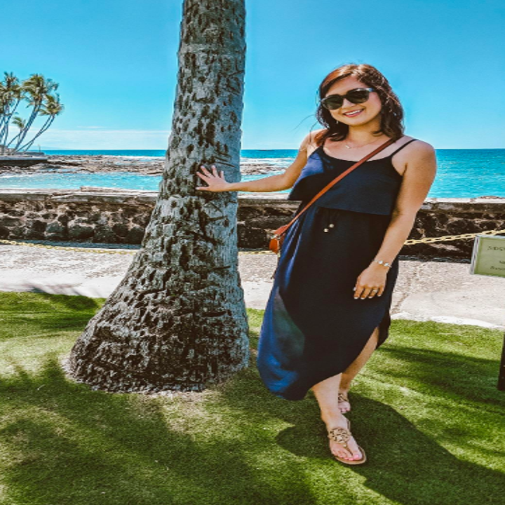 Reviewer wearing the dress in navy