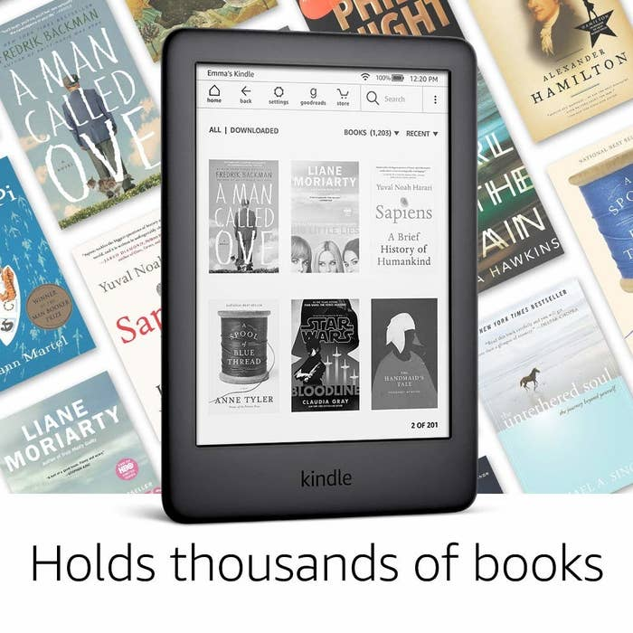 """The Kindle in black with text """"holds thousands of books"""""""