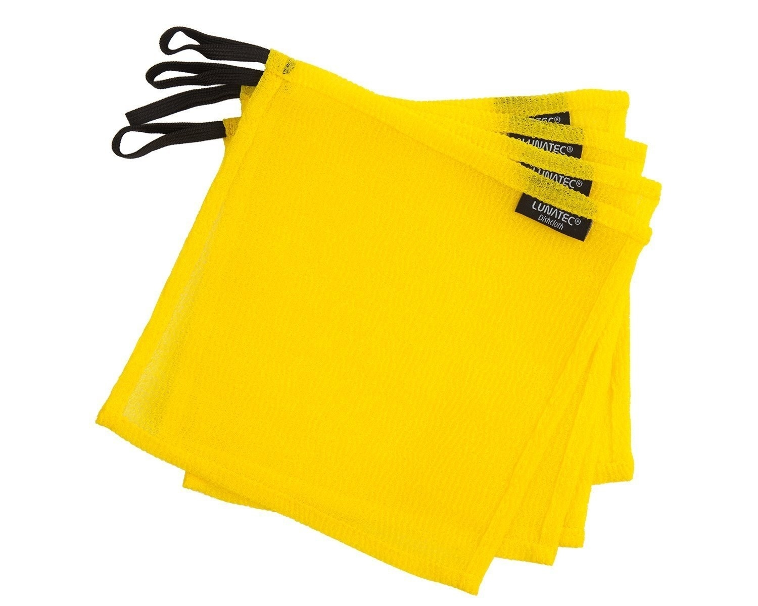 The cloths in yellow, with hanging loops