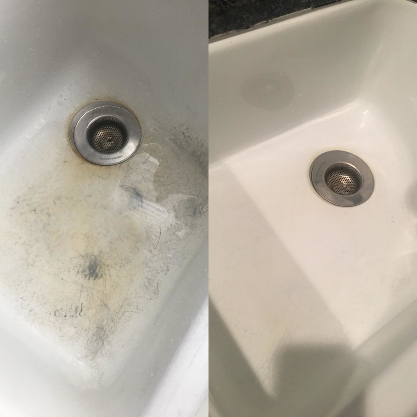 Reviewer photo of a white porcelain sink before and after being cleaned with the cleanser. The before photo shows staining and scratching while the after photo shows the sink completely clean