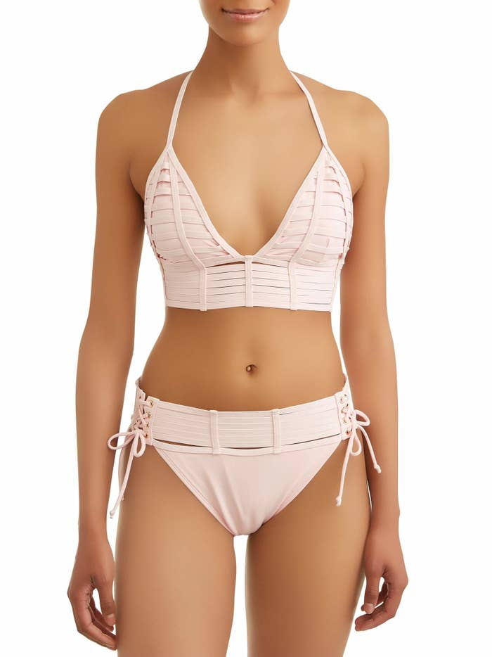 bb41c196ce4 A strappy and actually pretty stretchy bikini top and lace-up bottoms  that'll be the perfect upgrade to your boring old one-piece. Walmart