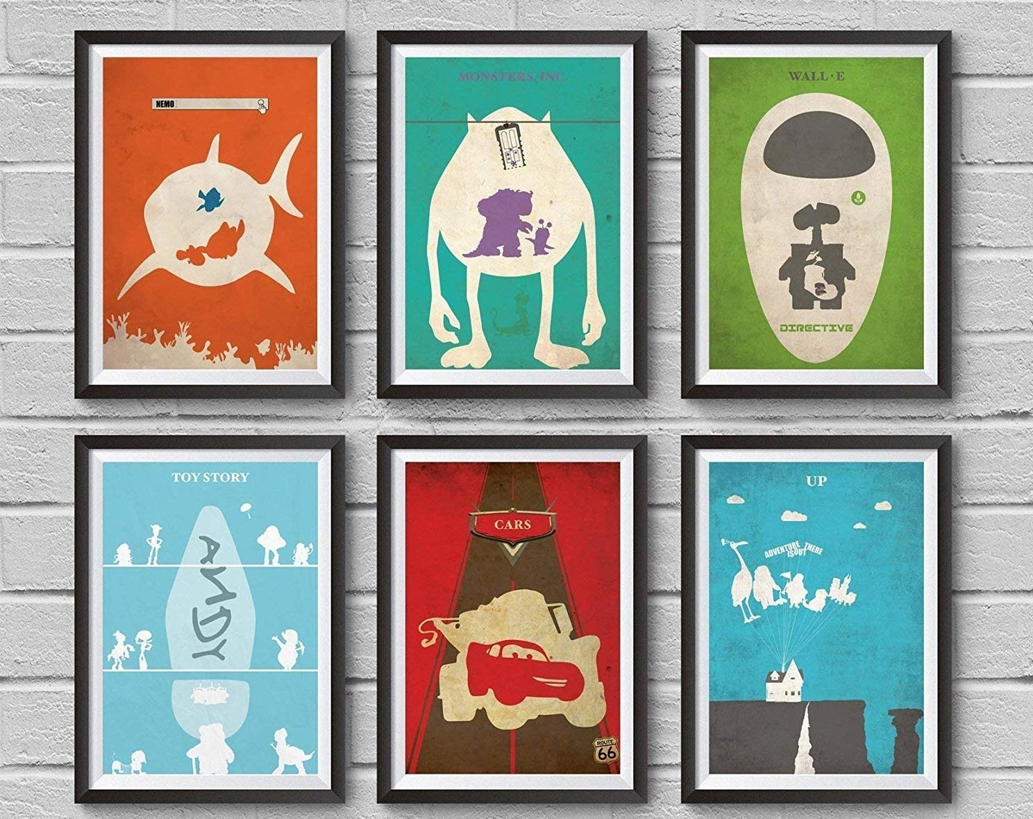 six different posters showcasing pixar films