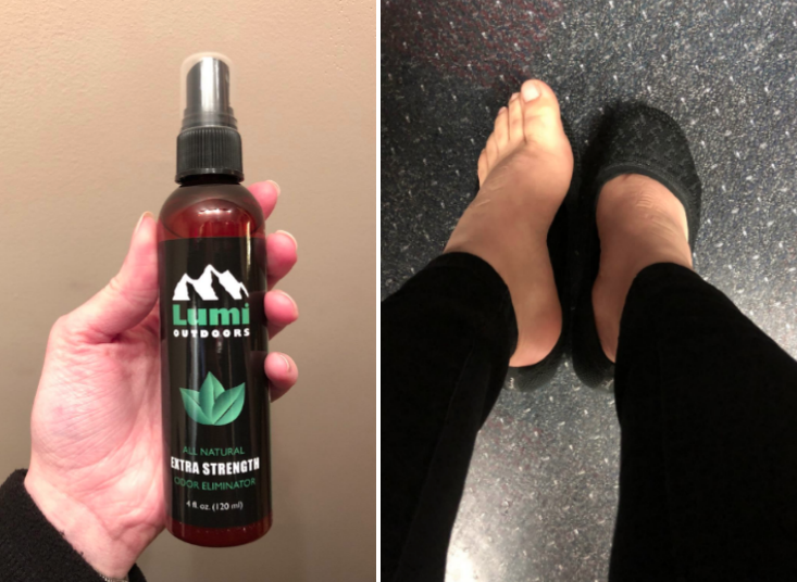 Two reviewer images, one holding the spray and another of two feet with wearing socks