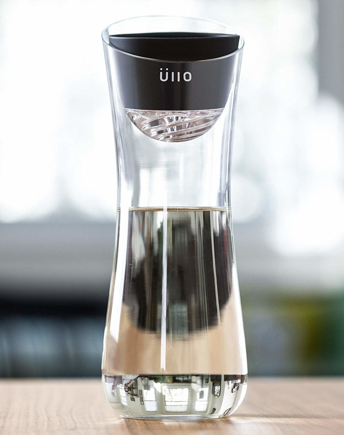 Close up of an Ullo wine purifier bottle