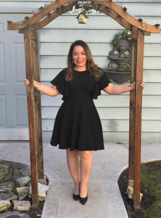 another reviewer in the dress in black