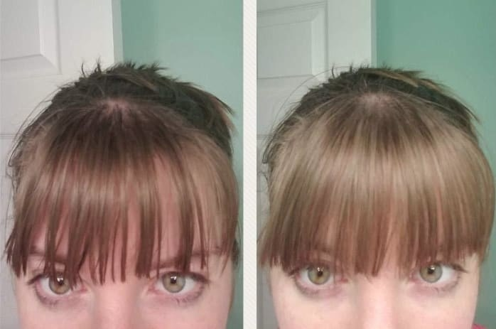Reviewer's before and after photo using the powder on their bangs. The left photo has noticeably shinier hair, and the left (after) photo has dry, more voluminous bangs.
