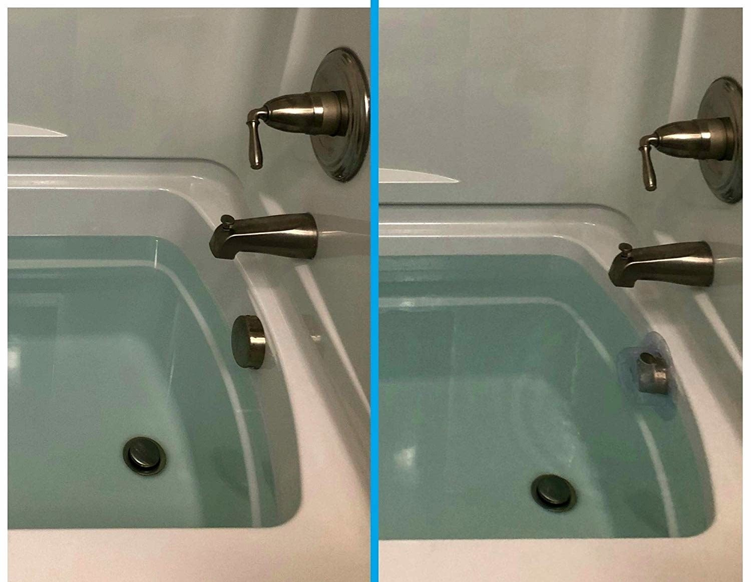 A before and after of a bathtub filled as far as it can be filled without the cover and then with the cover which is about 3-4 inches higher