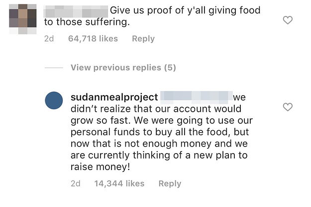 An Instagram Post That Promised To Give Food To Sudanese