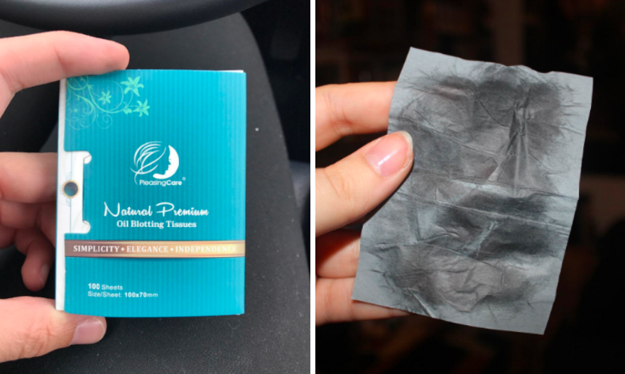 Two review photos showing the small compact case and an after photo of a blotting sheet showing the excess oil that came off
