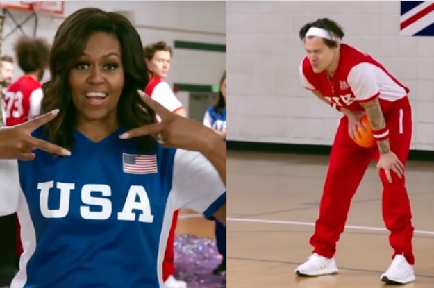 Michelle Obama Hit Harry Styles In The Balls During Celebrity Dodgeball