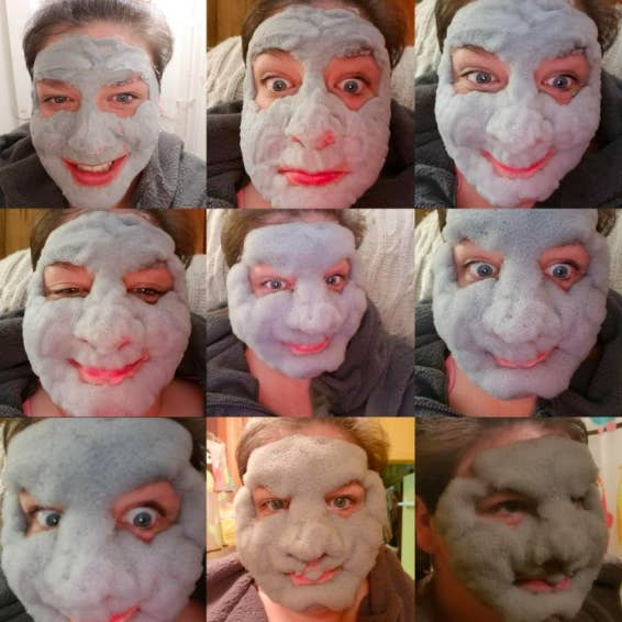 A set of nine reviewer selfies in the mask, showing how it goes from flat to super bubbly and fun