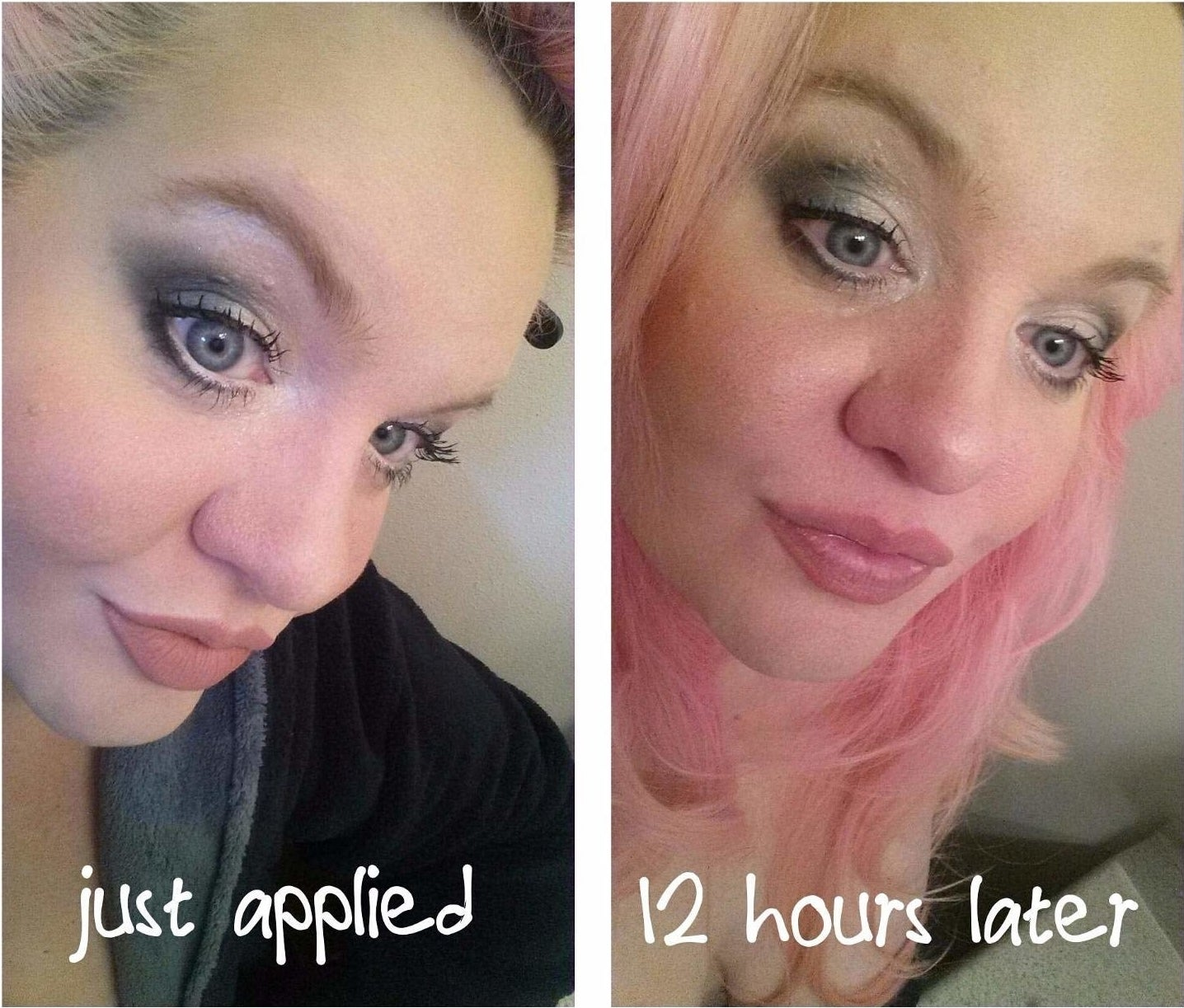 A reviewer's before: with full face of makeup and spray just applied and after: 12 hours later, all the makeup but her lipstick still intact