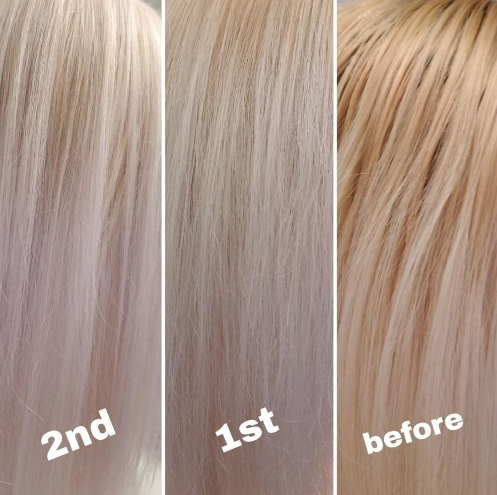 Reviewer before and after photos showing brass tones taken out of platinum blonde hair after using the shampoo