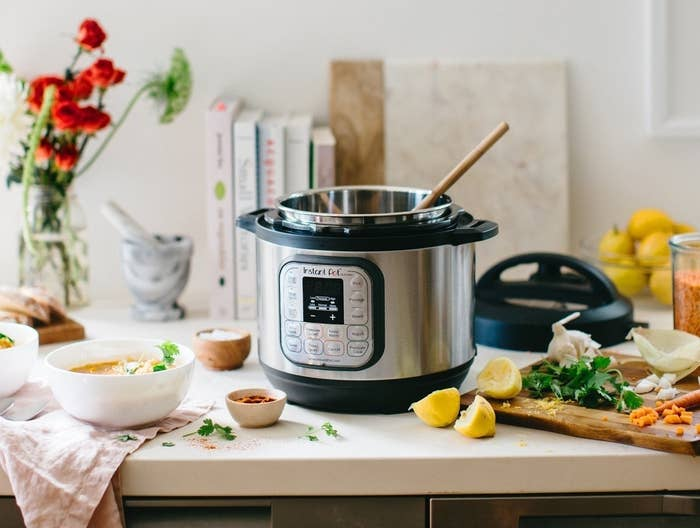 A product shot of the Instant Pot on a kitchen counter