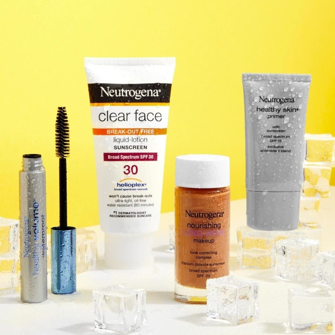 The bottle of Neutrogena Clear-Face Break-Out Free Liquid Lotion Sunscreen, Broad Spectrum SPF 30