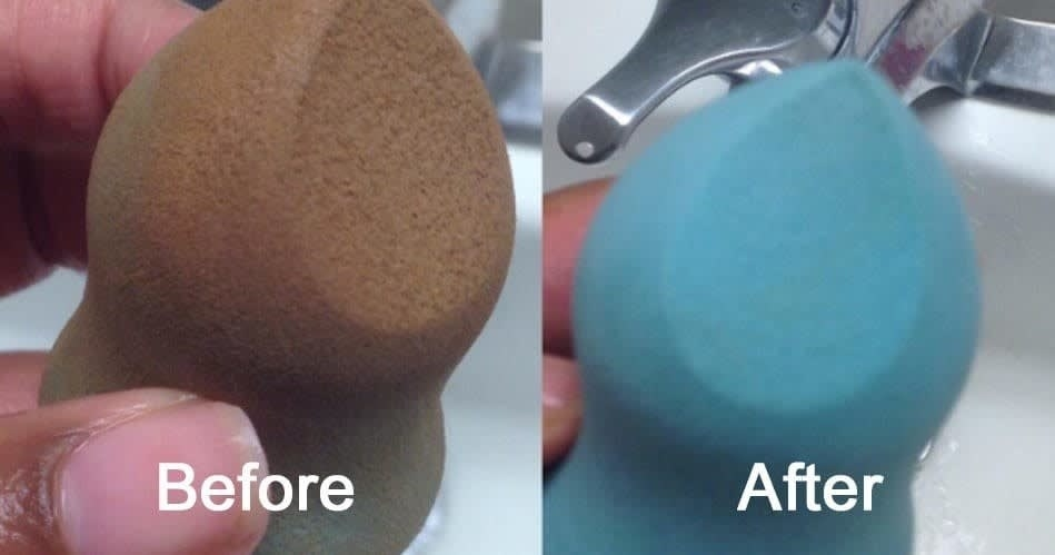 On the left, a makeup sponge looking orange from being covered in makeup, and on the right, the same sponge back to its original blue color