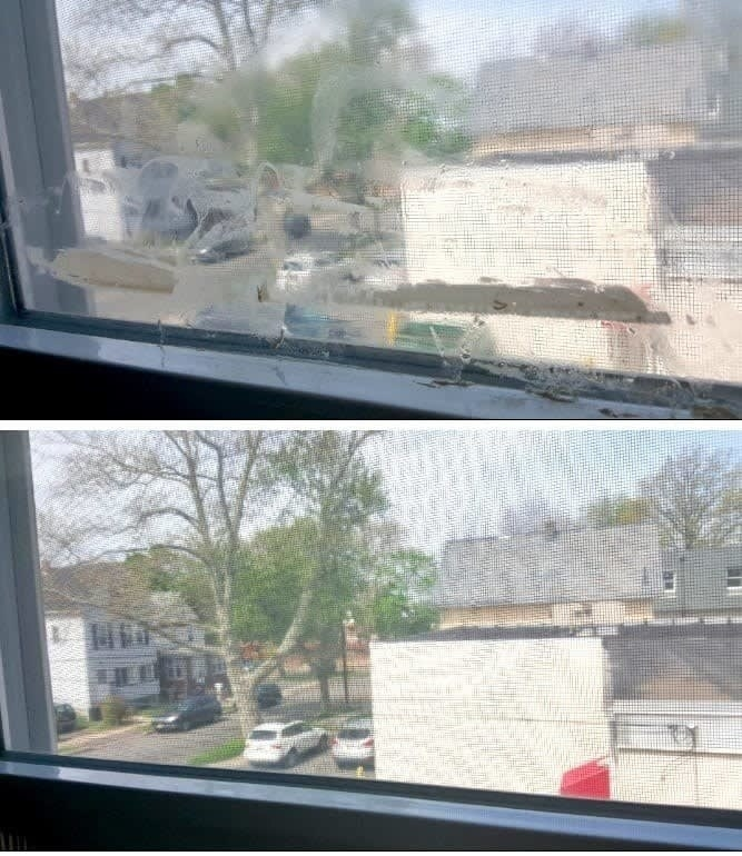 On the top, a window with a stain on it, and on the bottom, the same window, now clean of any stains