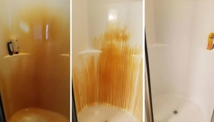 A before photo of an orange, rusty shower wall, a during photo of the same wall looking less orange, and an after photo of the same wall now completely white