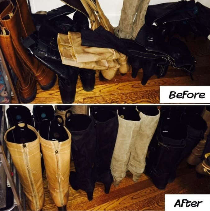 On the top, a reviewer before photo showing their tall boots not standing upright, and on the bottom, the same reviewer photo, showing their boots standing upright with the shapers inside