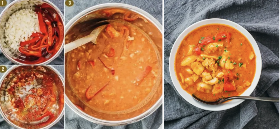 Moqueca, before and after it's cooked in an Instant Pot