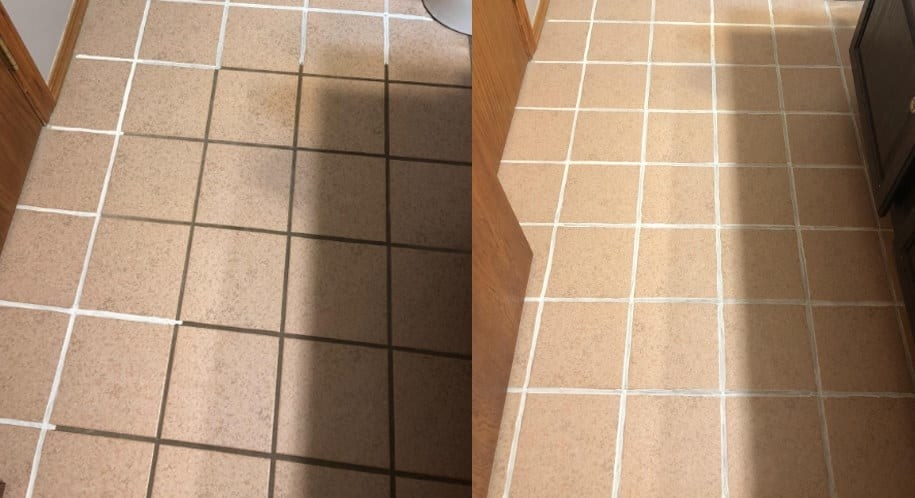On the left, a reviewer photo of dirty grout tiles, and on the right, the same tiles now clean