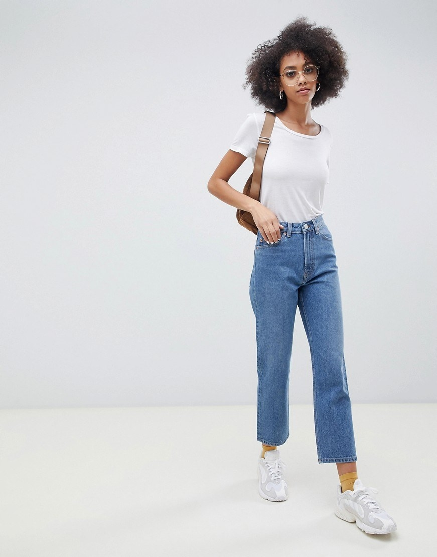 fe64a46c03d2e Vintage-inspired straight leg jeans in a classic medium wash that'll never  ever go out of style. Flares and skinnies might come and go, but these  babies are ...