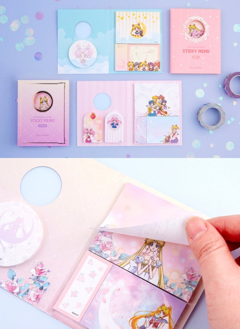 two versions of the book with four types of sticky notes with flowers and sailor moon characters