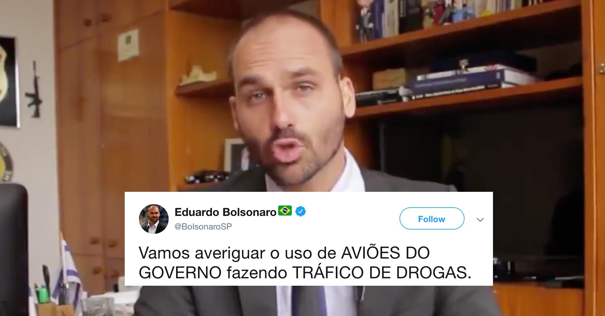 Em fevereiro, Eduardo Bolsonaro criticou tráfico de drogas em aviões do governo...da Venezuela