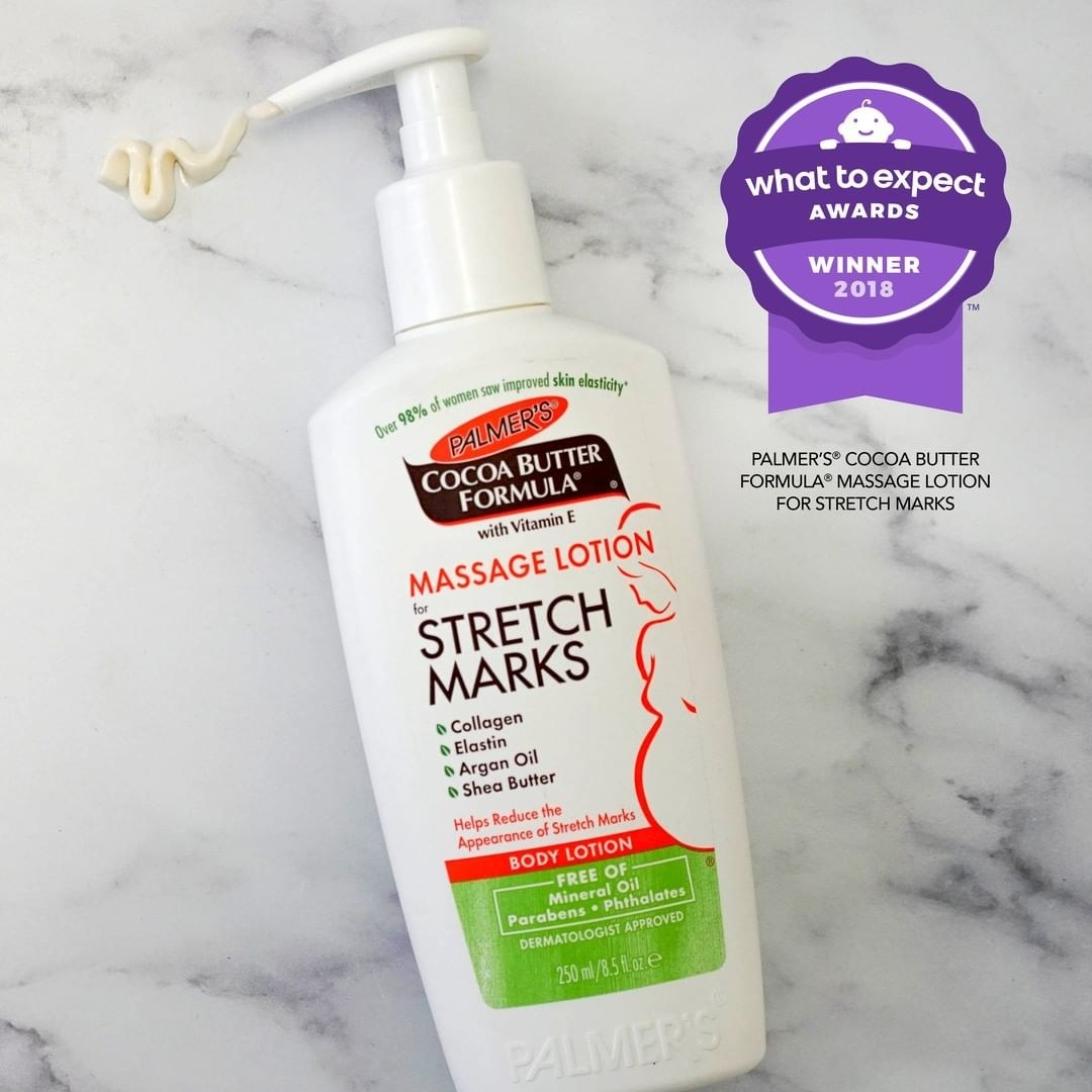 Palmer's massage lotion for stretch marks in pump bottle