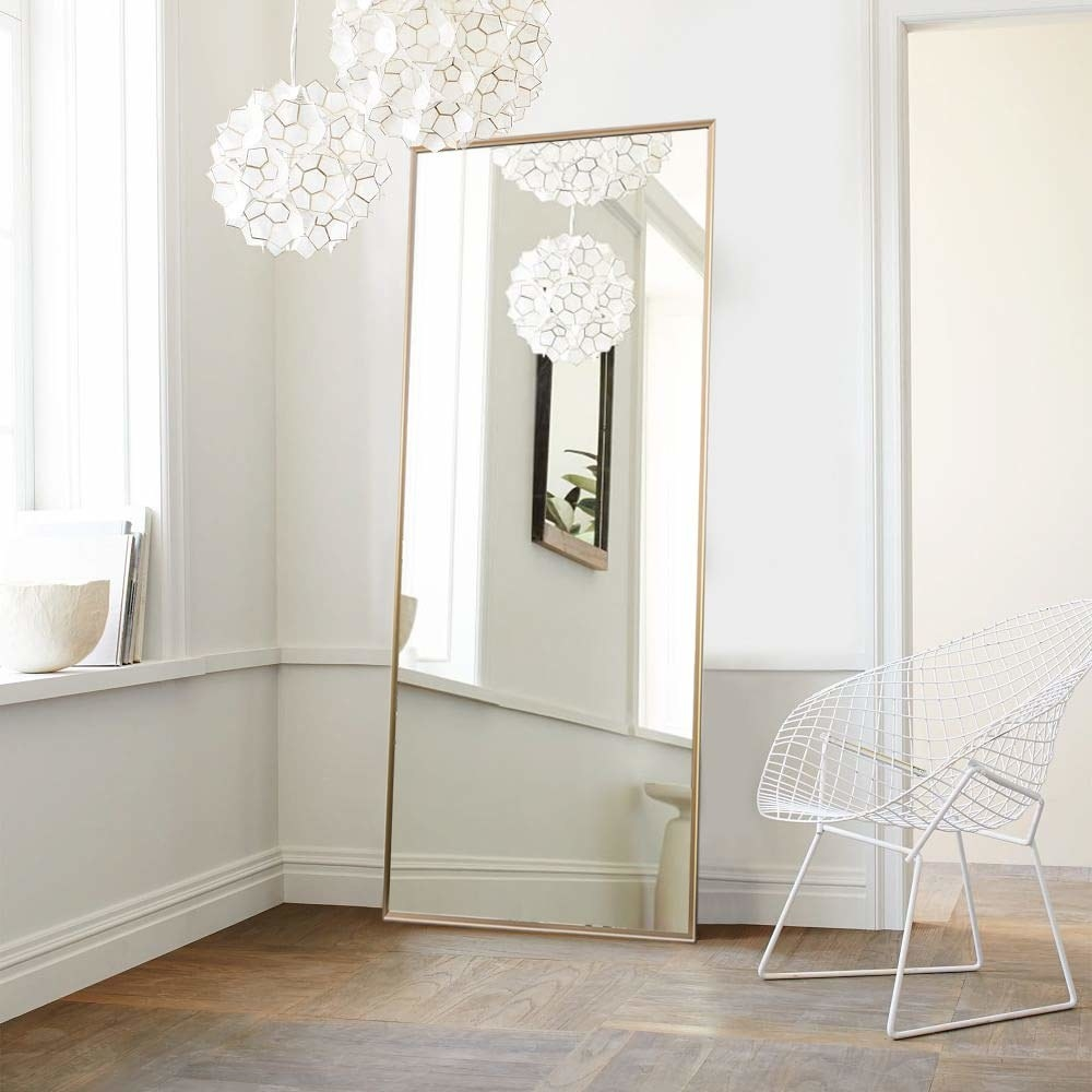 The full-length floor mirror leaning against a wall.
