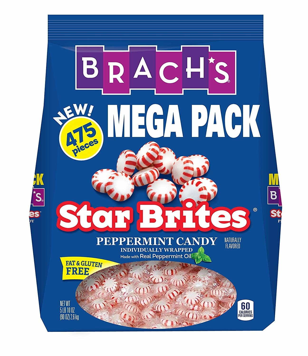 bag of 475 brach's star brites individually wrapped peppermints