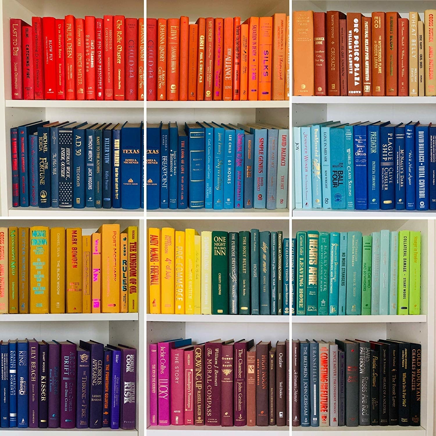 A bookshelf filled with color-coordinated books.