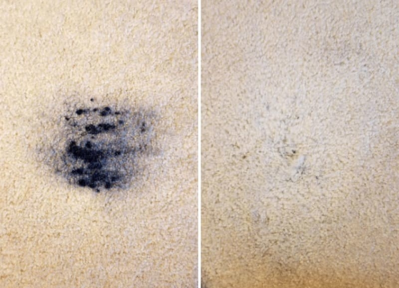 before image of black paint on carpet and after image showing the paint stain removed