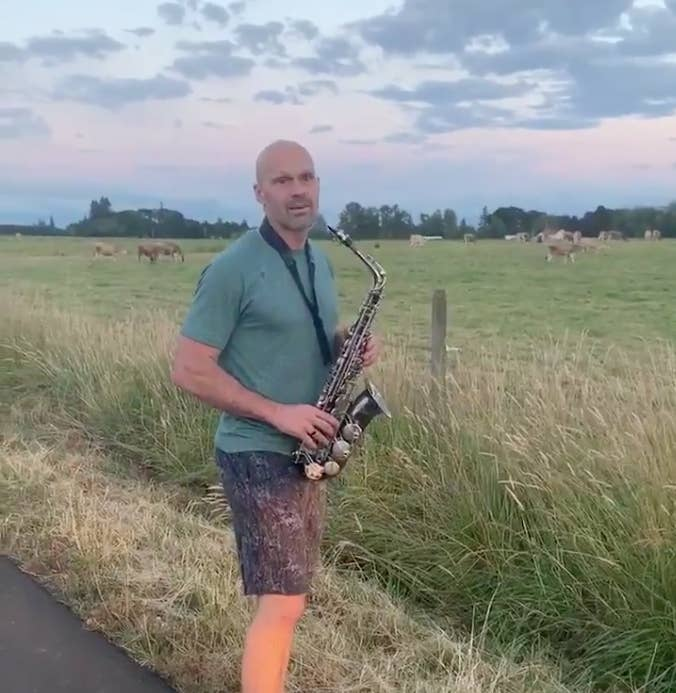 This Dad Playing The Sax For A Bunch Of Cows Is The Energy We Need