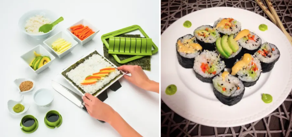 sushi kit and a reviewer photo's sushi made with the kit