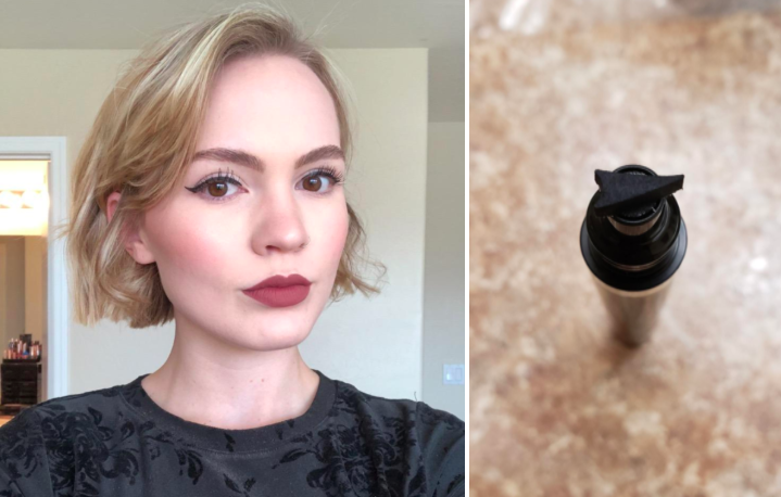 reviewer selfie of cat-eye look created with stamp